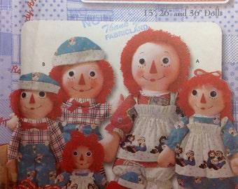 """Sewing Pattern 15-26-36""""  Raggedy Ann & Andy Dolls Clothing Uncut 2002 Daisy Kingdom Fabrics"""
