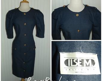 1970s Denim Coat Dress by Ilse M. California, Blue, Faux Pockets, Size Large, #45212