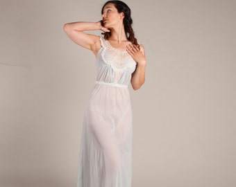 Vintage 1960s Lingerie - Long 60s Nightgown - Lenora Sheer Nightgown