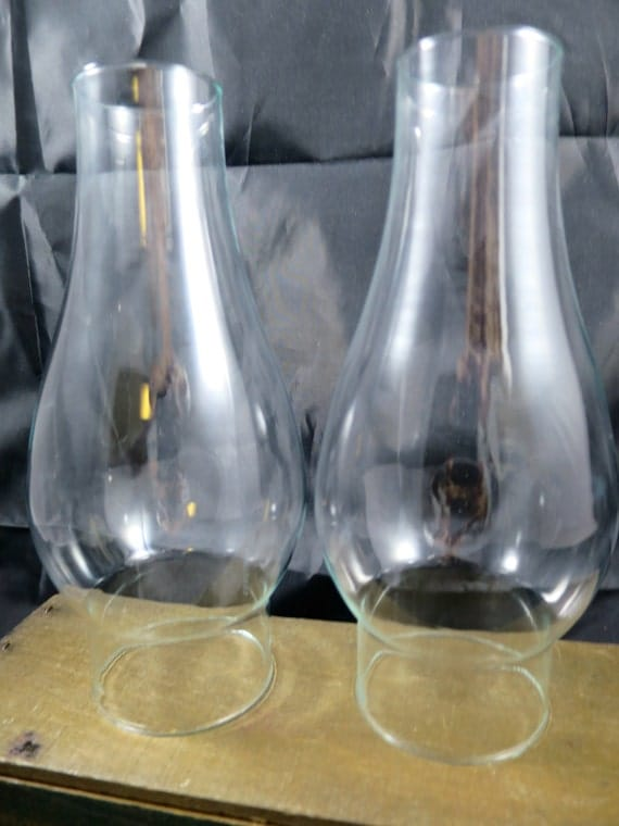 2 Oil Lamp Glass Chimneys Clear Glass