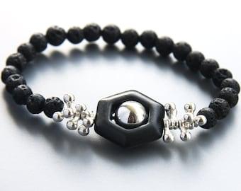 Sterling Silver Bracelet, Black Santorini Lava Rock Bracelet, Elegant Statement Bracelet, Geometric Hexagon Stone, Natural Stone Bracelet