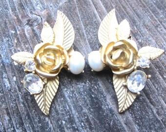 Vintage Earrings Rose Ear Clips Gold Earrings Faux Pearl Earrings Rhinestones Earrings Romantic Earrings Wedding Earrings Ear Clips Clip Ons