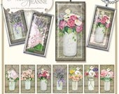 Digital Country Rustic Mason Jars, 1 x 2 inch rectangle Collage Sheet, E14-17D, roses hydrangea poppies calla lilies ivy floral flowers wood