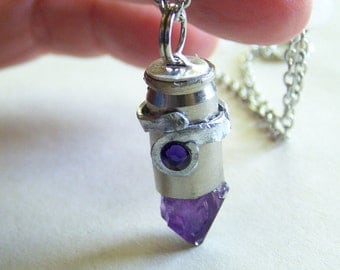 Amethyst Hammered Silver Bullet Jewelry Pendant