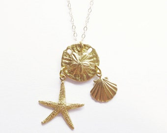 Gold Mermaid Necklace Starfish Jewelry Seashell Sea Star Shell Charm Sand Dollar Pendant Nautical Beach Beachy Ariel Wife Womens Gift Summer