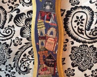Denim Blue and Gold Collaged Mezuzah on Etsy
