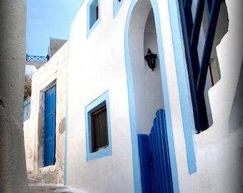 streets of santorini, fine art photography, greek white, greek blue, charming alley, cottage decor, modern art
