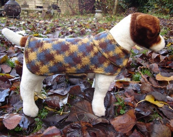 Dog Jacket -  Brown Mustard and Gray Plaid Dog Coat- Size Extra Small- 10-12 Inch Back Length