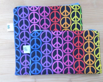 Reusable Zippered Sandwich & Snack Bags Eco Friendly Set of 2 Peace Sign Multicolored Rainbow print