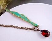 Vintage topaz brown glass jewel,aged brass,hand patina verdigris swan asymmetrical necklace