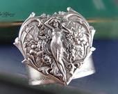 Aphrodite-- 2 inch Aged sterling silver plated brass,art nouveau heart goddess,bracelet cuff, Adjustable