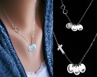 Personalized name necklace,Infinity full name necklace,Cross,Mother gift,Blessed,strength,grandma gift,Gift for mom