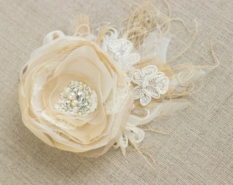 Lace Wedding headpiece, Wedding bridal hair flower, Wedding flower hair clip, rustic wedding hair accessories, champagne beige fascinator