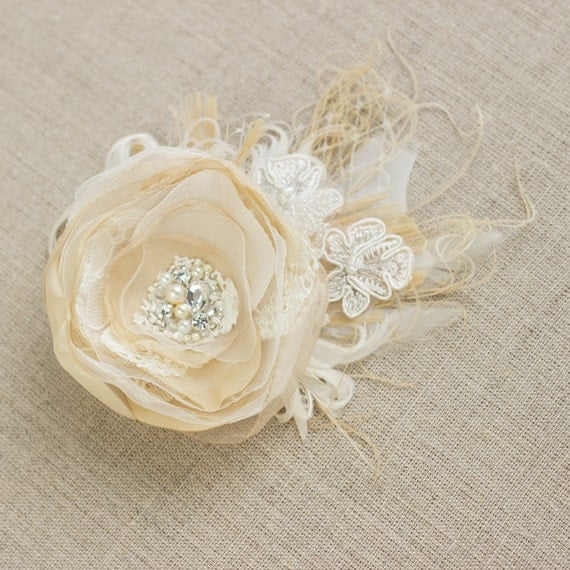 Wedding bridal hair accessories, wedding headpiece fascinator, flower hair clip, peacock fascinator, vintage rustic beige ivory tulle