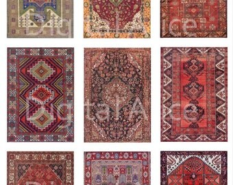 ANTIQUE ORIENTAL RUG - Digital Download Collage Sheet , Tags,Miniatures, Dollhouse,scrapbooking more - DiY