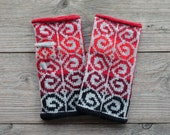 Hand-Knit Gray and Red Fingerless Gloves - Fashion Gloves - Bohemian Gloves - Fingerless Gloves - Wool Fingerless Gloves  no 106.