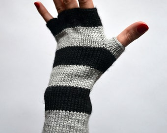 Striped Gray and Black Fingerless Gloves - Half Finger Gloves - Steampunk Striped Gloves - Fashion Gloves nO 88.
