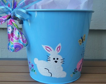 Hand Painted Personalized Easter Bucket / Easte Basket - Easter Rabbit, Blue Pail for Child, Monogram, Easter Egg Hunt, Gift Basket