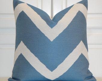 Blue Denim Chevron - Decorative Pillow Cover - IKAT Zig Zag -  Cushion - Sofa Pillow - Blue and White Pillow
