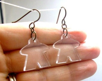 Meeple Earrings, Transparent Polished Acrylic, geeky jewelry, board gaming earrings, tabletop game pieces, carcassonne meeple