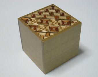 Japanese Puzzle box (Himitsu bako)- 2.2inch(56mm) Cube 2steps Yosegi for Beginner