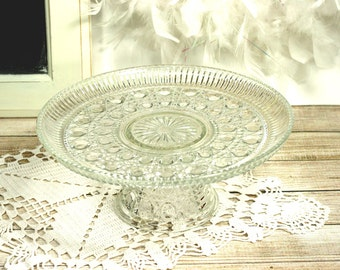 Vintage Cake Stand Or Dessert Pedestal Windsor Pattern by Indiana Glass Company