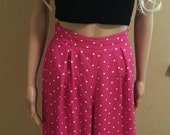 High Waist Pink Culotte Shorts with White Polka Dots