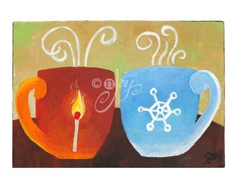 Coffee Art, COFFEEMATES, FIRE and ICE, 7x5 Acrylic Painting, Romantic Art