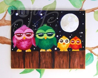 Childrens Wall Art, OWLS ON A Fence #2, 14x11, Whimsical Owl Art