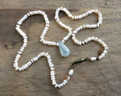 Kyanite and Pearl Necklace, rustic blue and white bridal necklace with tiny pearls, blue kyanite drop and silk thread