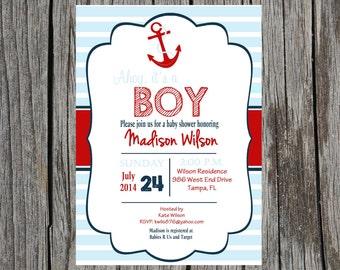 Anchor Baby Shower Invitation, nautical baby shower, baby boy, red, blue, anchor, DIY, digital, printable