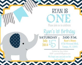 Elephant Birthday Party Invitation,  Elephant birthday Invitation, boy birthday, elephants