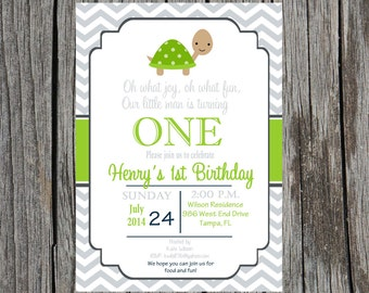 Printed Turtle birthday invitation, turtles birthday party invitation, custom and printable, boy birthday