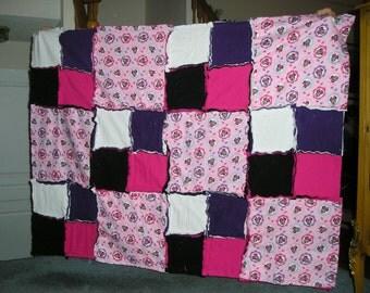 Minnie Mouse Fabric Flannel Rag Blanket - Handmade