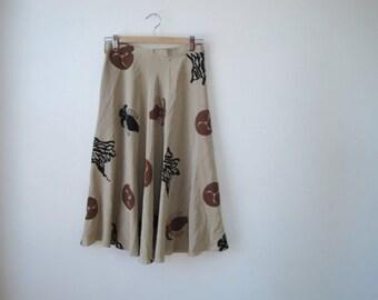 1970s Cremini Mushroom SILK skirt sz S