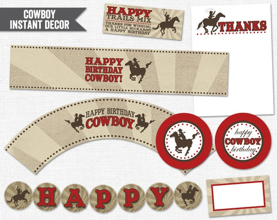 INSTANT DOWNLOAD Cowboy Party Printable PDF (Cupcake Topper and Wrapper, Water Bottle Labels, Thank You Notes, Treat Bags, Banner)