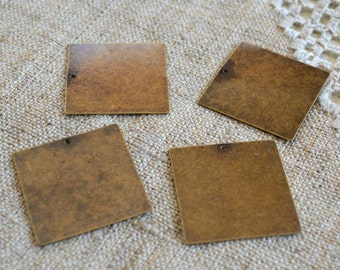 4 Charms Drops Antiqued Brass 28x28mm Flat Square Blank Stamping