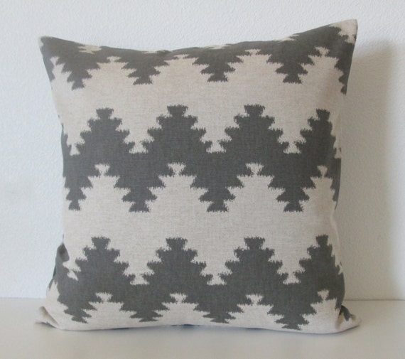 West Elm Ikat Zig Zag 20x20 gray linen decorative pillow cover