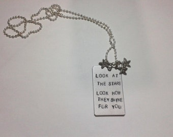 Look at the stars look how they shine for you - Yellow - Chris Martin - Coldplay - Handstamped  Necklace