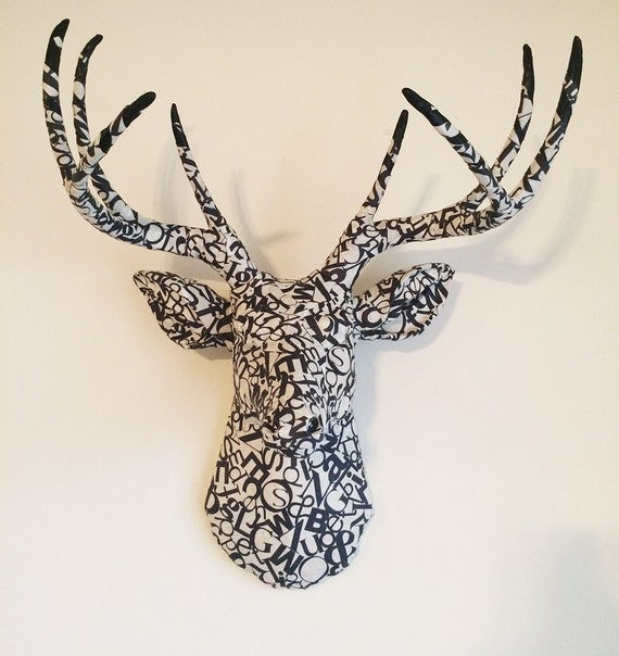 READY TO SHIP Typography Letters Letterpress Deer Head Wall Mount Faux Taxidermy