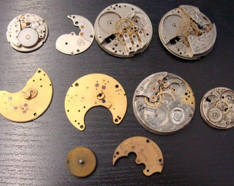 Lot Of 10 Odds & Ends Watch Parts For Craft Or Steam Punk