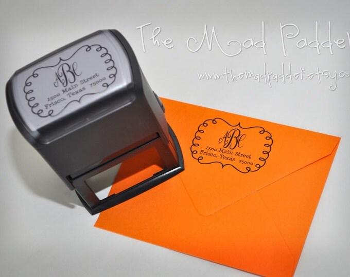 Custom Self-Inking Rectangle Monogram Address Stamp