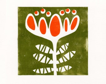Lily Cup. 2-color lino block print
