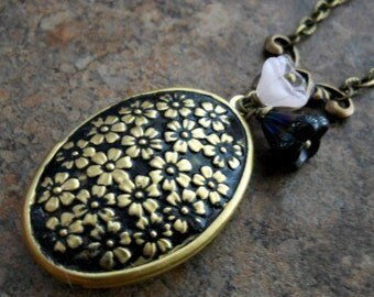 Brass Black Enameled Sakura Cherry Blossom Locket, Brass Locket with Flowers, Black Enameled Brass  Locket