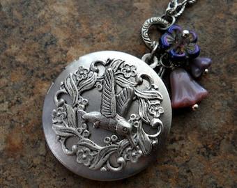 Sweet Hummingbird Locket in Antiqued Silver, Bird Locket Exclusive Design by Enchanted Lockets