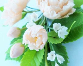 Handmade Miniature Polymer Clay Supplies Peony Bouquet