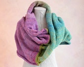 Impressionist Garden knit throw, chunky warm knit throw, cotton mohair silk knit wrap to slip over your shoulders - WrapturebyInese