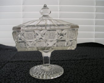 Vintage Crystal Covered Candy Dish
