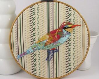 Bee Eater Birdseeker. Hand Embroidery.