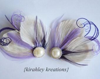 MARLA in PURPLE -- Champagne Ivory Peacock Purple Lavender Feathers Bridesmaid Bride Bridal Wedding Hairpiece Hair Clip Fascinator Headpiece